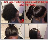 Lace frontal sew-in weave (No glue) Tissage/ greffes
