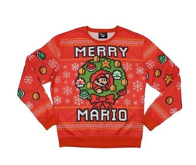 Think Geek Nintendo Super Mario Brothers Merry Mario Ugly Christmas SweatshirtXL