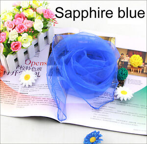 Sapphire-Blue-Womens-Fashion-Chiffon-Silk-Slim-Soft-Square-Scarf-Candy-Color