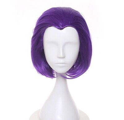 Teen Titans Headwear Raven Cosplay Hairwear Short Purple Straight Wig Full Wigs - Raven Cosplay Teen Titans