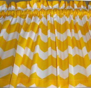 yellow and white chevron curtain valance custom made zig