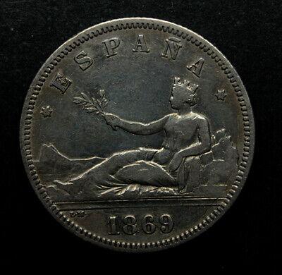 Gobierno  Provisional, 2 Pesetas 1869 (*18*69), Escasa segunda mano  A Coruña