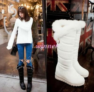 Roman Thick Fur Lined Wedge Heel Platform Lady Knee High Warm Boot Low Shoes sz