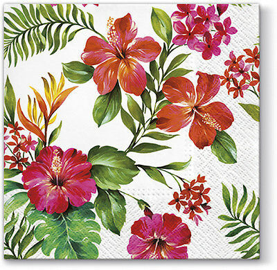 20 Paper Lunch Napkins HAWAIIAN FLOWERS Decoration Tropical Bahamas Exotic