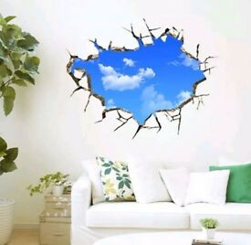 BRAND NEW LARGE 3D 3D DIY Blue Sky Clouds Removable ceiling/wall Poster