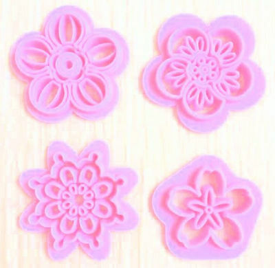 Flower designs 4 piece press set for Fondant, Gum Paste, Chocolate, Crafts NEW Cocoa Pink 4 Piece