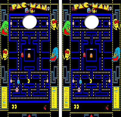 Pac Man Arcade Game Cornhole Board Wraps Decal #3436