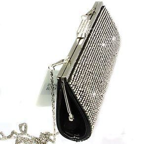 Ladies Diamante Party Evening Clutch Purse Bag