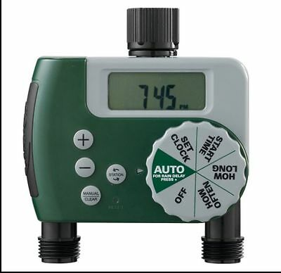 2 Valve 1 Dial Water Timer Sprinkler Garden Hose Rain Sensor Lawn Auto Automatic