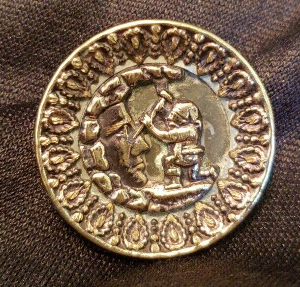 Antique Brass Picture Button, The Imp of Pain Chiseling on Rock Face