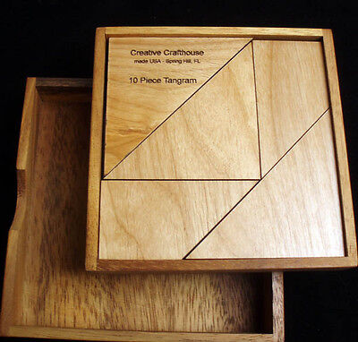 tangram 10 piece in box with cover.  Makes a larger square & 190 provided shapes