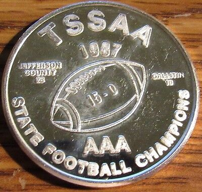 1987 Jefferson County HS Football Champions 1 Troy Oz 999 Silver Round Tennessee