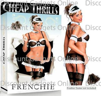 French Maid Costume Bra Top Panty Garter Lace Choker Hat Bow Magic Silk Lingerie