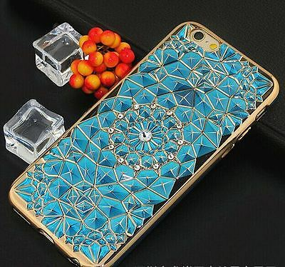 IPHONE 6/6S/6+/6S+ LUXURY TPU CASE WITH DIAMOND SUN FLOWER+FREE TEMPERED GLASS ()