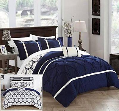 NEW Chic Home Design Marcia 4-pc. Comforter Set - King Navyking WA85