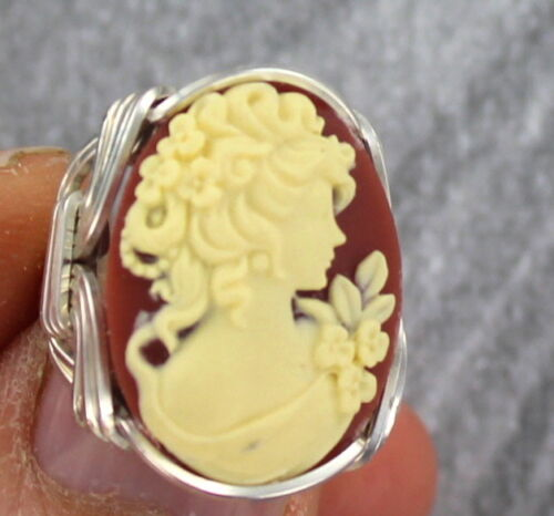 Cameo Ring in Solid Sterling Silver Wire Size 5 to 15 Wire Wrapped