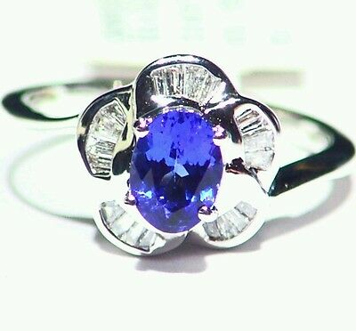 1.11CT 14K GOLD NATURAL CUT TANZANITE WHITE DIAMOND VINTAGE ENGAGEMENT RING