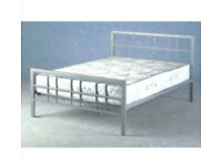 NEW DOUBLE 4FT6 BED SILVER METAL IN BOX FLAT PACKED..