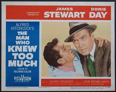 THE MAN WHO KNEW TOO MUCH HITCHCOCK JAMES STEWART 1956 LOBBY CARD #6