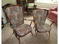 Pair of Matching His and Hers Vintage Ercol Windsor Armchairs Retro MCM Classic Design