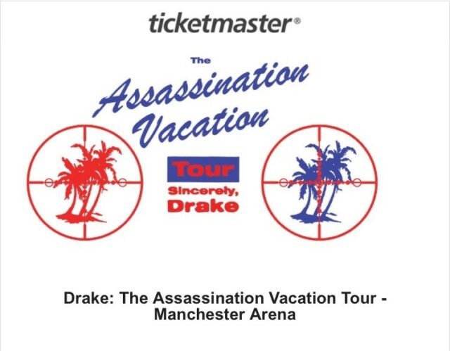 X2 DRAKE ASSASSINATION VACATION TOUR TICKETS MANCHESTER ARENA SUNDAY 10th  MARCH | in Marple, Manchester | Gumtree