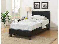 Black leather Roma single bed frame + mattress / Possible DELIVERY