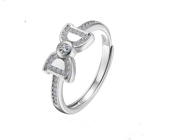 CC Jewelry 925 Sterling Silver Zircon Bow Women Fashion Adjustable Open Ring Fashion Jewelry