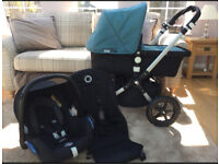 Bugaboo Cameleon 3 Pram with Petrol Blue fabric plus car seat in excellent condition