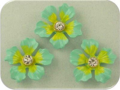 2 Hole Beads Flowers~Aqua Lime w/Clear Swarovski Crystal Elements ~Sliders QTY 3 ()