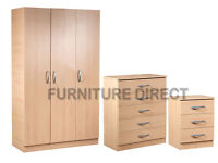 BRAND NEW- Ready Built Wardrobe Set with Chest and Side Table - SAME/NEXT DAY DELIVERY!