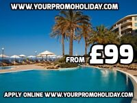£99 for 7 nights of accommodation in Tenerife, Malta or Spain 4 or 5 star cheap promotional holidays