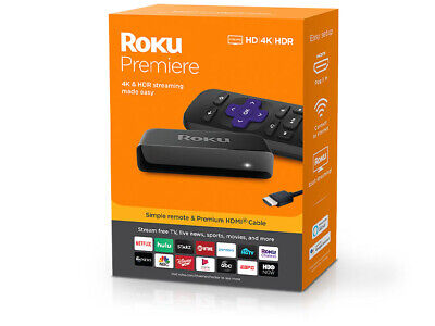 Roku Premiere 3920R 4K Streaming Media Player - Black (Streams HD 4K HDR)