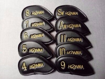 Golf Club Iron 4-11-A-S Head Cover Honma Basic Logo 10 Pieces Set Black