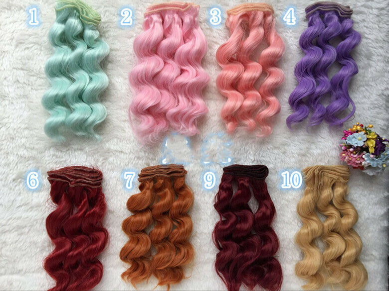 15cm Long Curly End Colorful Ombre Straight Synthetic Doll DIY Hair Extensions
