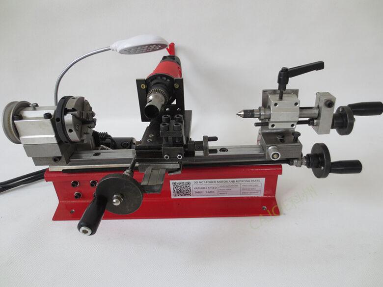 220V 4 Jaw 80mm chuck Dual Motor Desktop Mini Lathe Bead Lathe Machine