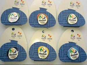 RIO BRAZIL 2016 OLYMPICS LOGO PIN BADGES SET OF 6 LONDON 2012