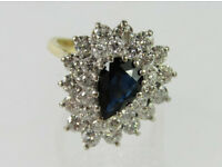A beautiful 18 ct gold sapphire and diamond ring