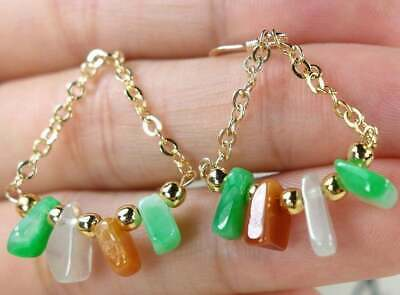 Certified Icy Green, brown, white Jadeite Jade Earring 100% Natural Grade A,