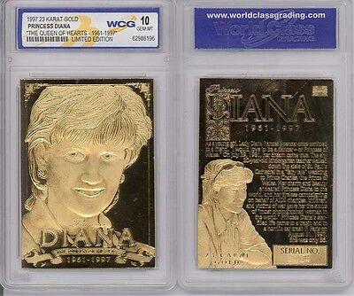 1997 PRINCESS DIANA 23K GOLD SCULPTURED CARD - GEM-MINT 10 * Lot of 5 *