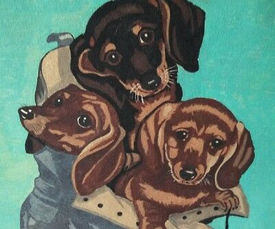 Trichem Liquid Embroidery - Finished Piece - Unframed - Dogs In Shoe 12 x 18