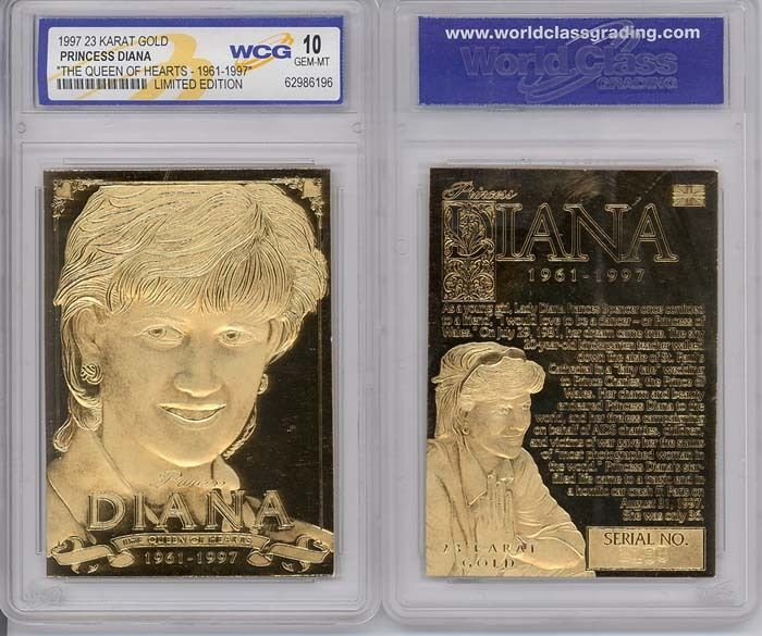 1997 PRINCESS DIANA 23K GOLD CARD SCULPTURED - GRADED GEM-MINT 10 *RARE* LIMITED