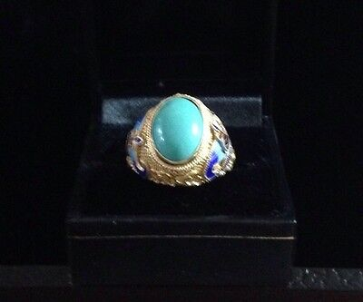 Vintage Chinese Silver And Enamel Ring