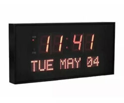 Active Living Oversized RED Digital LED Dynamic Wall Clock NEW W/box 16x 7.5""