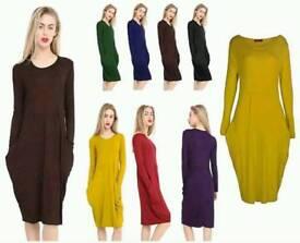 Ladies Round Neck Long sleeve dress