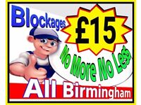 """£15""Fixed Rate Blockages (NO MORE-NO LESS) 24/7 Blocked Drains & Toilets fixed rates start from £15"