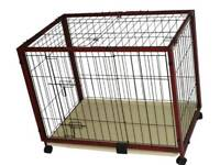 Pet cage, pen, wood and metal. New