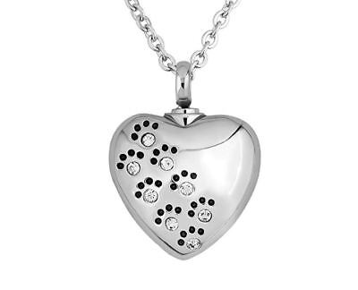 Dog Cat Pet Memorial Paw Print Ashes Urn Cremation Necklace Peaceful RIP Gift