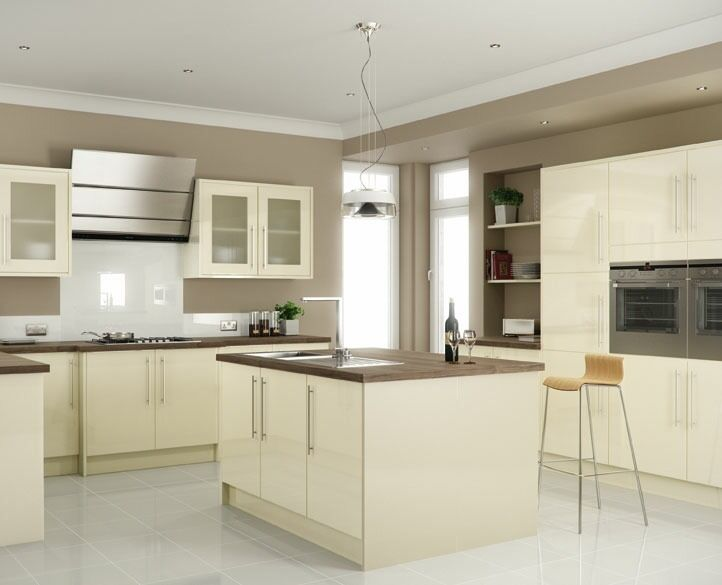 7 piece kitchen units cream gloss brand new in for White high gloss kitchen wall units