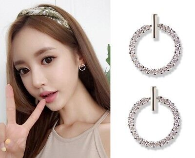 Solid 925 Sterling Silver CZ ETERNITY Circle post stud Earrings Women Ladies K52 - Eternal Circle Earrings