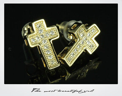Mens / Ladies 10K Gold Plated Sterling Silver Bling Cross Pave CZ Stud Earrings